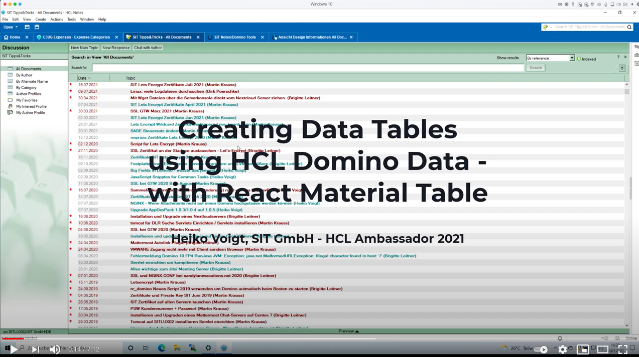 New video: Building Data Tables using HCL Domino Data and Material Table.